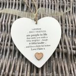 Shabby personalised Gift Chic Heart Plaque Special BEST FRIEND ANY NAMES Gift - 332885980637